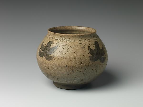 Jar, Stoneware with painted decoration in underglaze brown iron (Karatsu ware), Japan