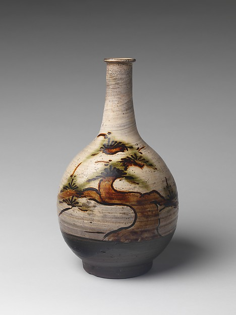 Bottle with Decoration of Pine Tree, Stoneware with iron-painted design and copper-green glaze over brushed white slip (Takeo Karatsu ware), Japan