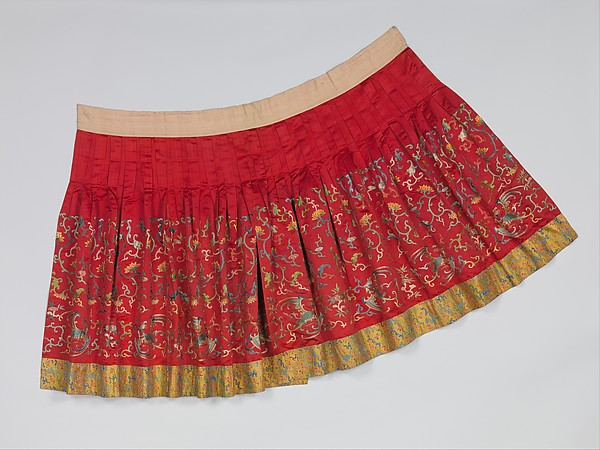 Skirt from Theatrical Ensemble for a Female Role, Silk and metallic-thread embroidery on silk satin, China