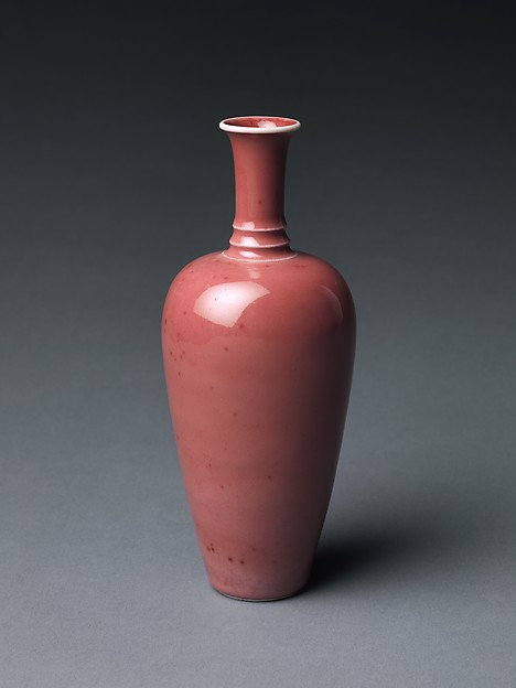 Vase, Porcelain with peach-bloom glaze (Jingdezhen ware), China