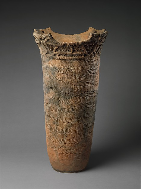 Deep Vessel, Earthenware with cord-marked decoration and sculptural rim, Japan