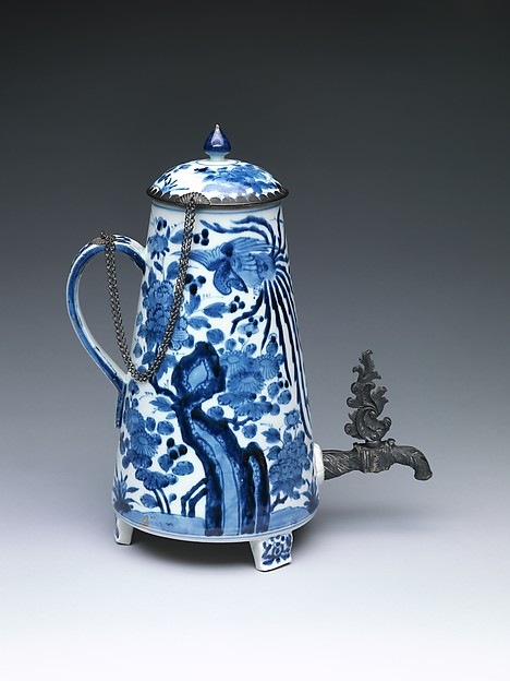 Coffee Pot, White porcelain (Arita ware), decorated with blue under the glaze and mounted with silver, Japan