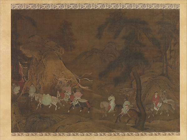 Emperor Xuanzong's Flight to Shu, Unidentified Artist Chinese, active mid-12th century, Hanging scroll; ink, color, and gold on silk, China