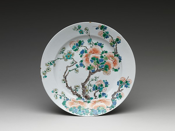 Plate with Camellia and Plum, Porcelain painted in overglaze polychrome enamels, China