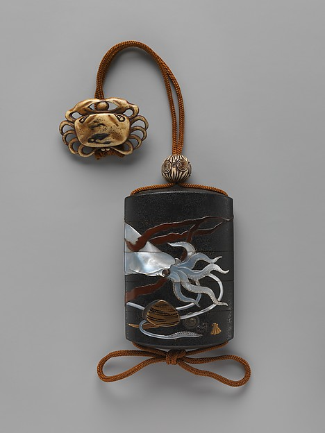 Case (Inrō) with Design of Squid, Shells and Seaweed, Hara Yōyūsai (Japanese, 1772–1845), Case: powdered gold (maki-e) and colored lacquer on black lacquer with mother-of-pearl and gold inlays; Fastener (ojime): ivory carved with abstract design; Toggle (netsuke): ivory carved in the shape of a crab, Japan