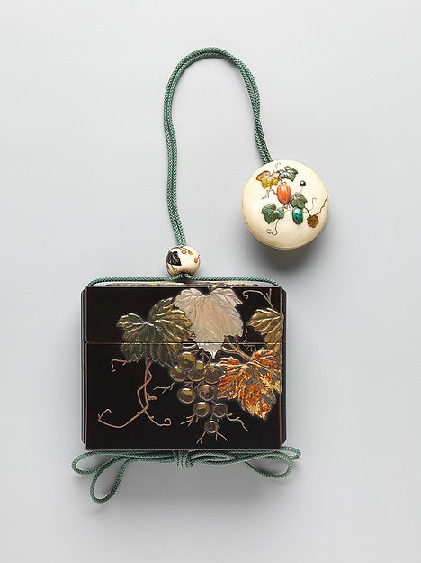 Inrō with Grapevine, Nomura Choheisai (Japanese, active second half of the 18th century), One case; lacquered wood with gold hiramaki-e, gold foil application with green stained ivory, mother-of-pearl, amber, and horn inlays on black lacquer ground