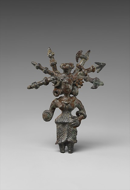 Goddess with Weapons in Her Hair, Copper alloy, North India (possibly Kausambi, Uttar Pradesh)