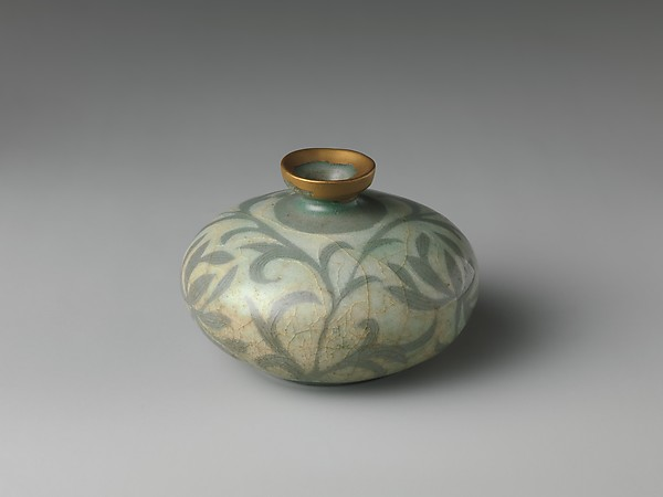 Oil bottle decorated with peony leaves, Stoneware with reverse-inlaid design under celadon glaze, Korea