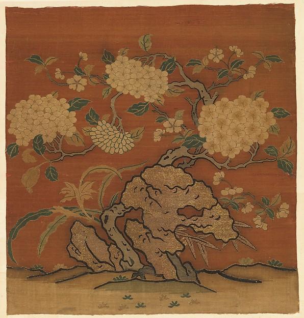 Flowers and Garden Rock, Silk and metallic-thread tapestry (kesi), China