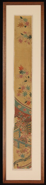 Piece from a Robe (Kosode) with Maple Leaves, Curtain, and Large Drum, Resist-dyed and painted (yūzen) silk crepe with details embroidered in silk and metallic thread, Japan