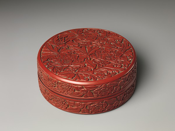 Box with peonies, Carved red lacquer, China