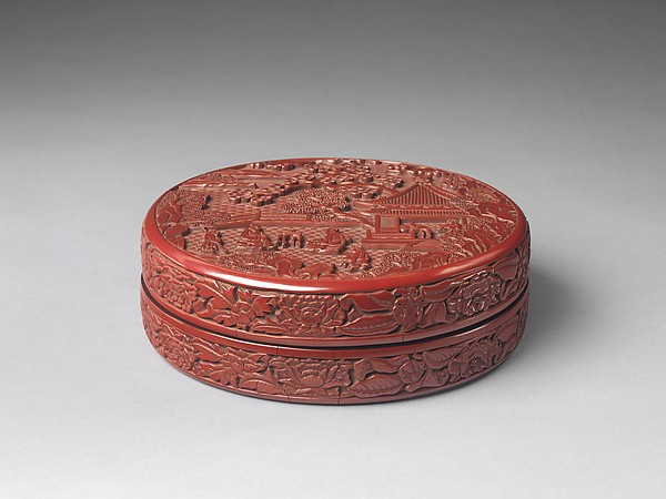Box with garden scene, Carved red lacquer, China