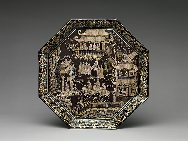 Tray with Eighteen Scholars of the Tang, Black lacquer with mother-of-pearl inlay, China