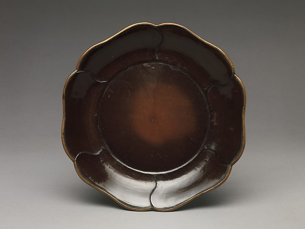 Dish with Petal Border, Black lacquer with gilding, China