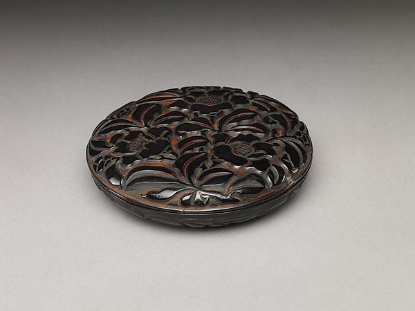 Box with Camellias, Carved black and red lacquer, China