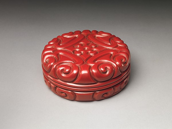 Box with Pommel Scroll Design, Carved red lacquer, China