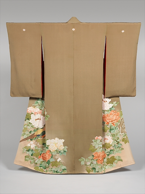Kimono with Pheasants amid Peonies, Paste-resist dyeing with silk embroidered accents on silk crepe , Japan