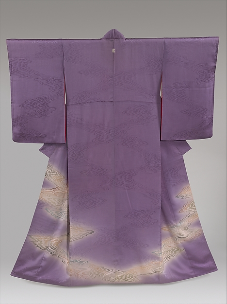 Kimono with Stylized Flowing Water, Silk; paste-resist dyed with gold- and silver-painted accents, Japan