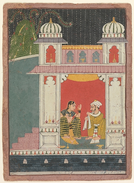 A Heroine and Her Lover in a Pavilion: Page from a Dispersed Nayikabheda, Ink and opaque watercolor on paper, India (Madhya Pradesh, Malwa)