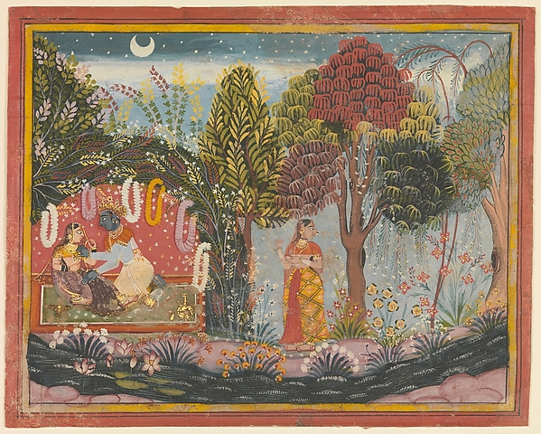 Krishna and Radha in a Bower:  Page From a Dispersed Gita Govinda, Sahibdin (active ca. 1628–55), Ink and opaque watercolor on paper, India (Rajasthan, Mewar)