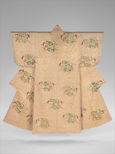 Noh Costume (Nuihaku) with Millet and Nandina Berries on a Background of Pine Branches and Zither Bridges, Silk embroidery and gold leaf on silk twill, Japan