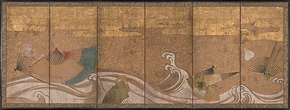 Fans upon Waves, Six-panel folding screen; ink, color, and gold leaf on paper, Japan
