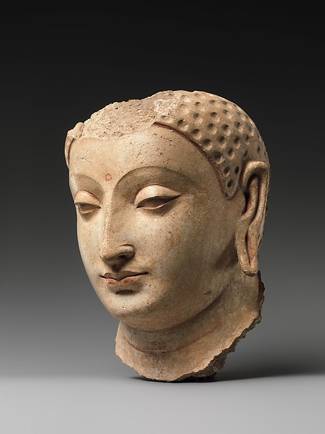 Head of Buddha, Stucco with traces of paint, Afghanistan (probably Hadda)