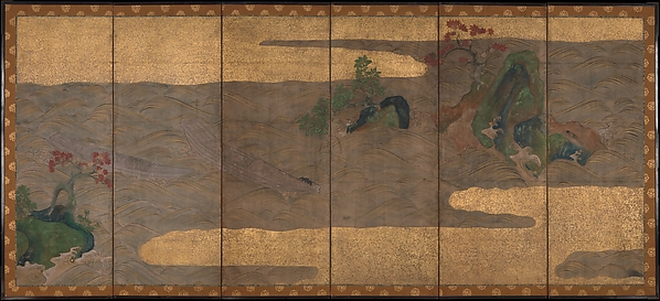 Boats upon Waves, Studio of Tawaraya Sōtatsu (Japanese, died ca. 1640), Six-panel folding screen; ink, color, and gold on paper, Japan