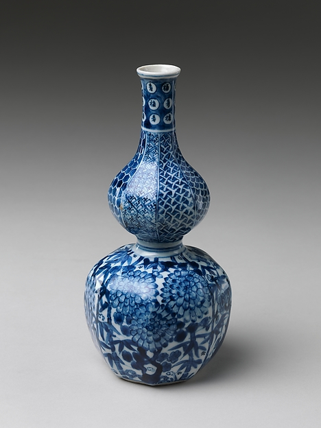 Wine Bottle with Three Friends of Winter, Porcelain painted with cobalt blue under transparent glaze , Japan