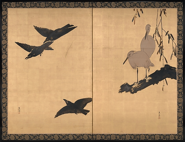 Egrets and Crows, Shibata Zeshin (Japanese, 1807–1891), Individual panels remounted as a two-panel folding screen; colored lacquer, white pigment, and gold leaf on paper, Japan