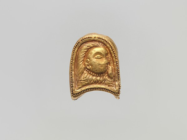 Plaque with Head, Gold, China (Xinjiang Autonomous Region, Central Asia)