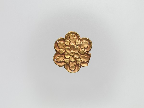 Flower-Shaped Clothing Plaque, Gold, China (Xinjiang Autonomous Region, Central Asia)