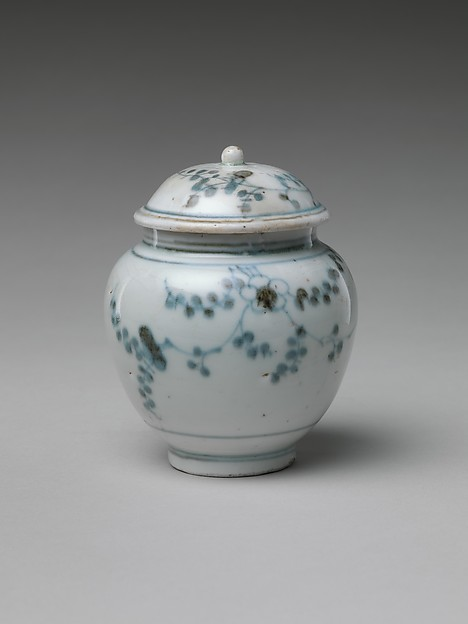 Jar and Lid with Flowering Plant, Porcelain with underglaze blue (Hizen ware, early Imari type), Japan