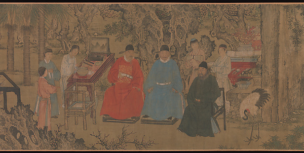 Elegant Gathering in the Apricot Garden, After Xie Huan (Chinese, 1377–1452), Handscroll; ink and color on silk, China