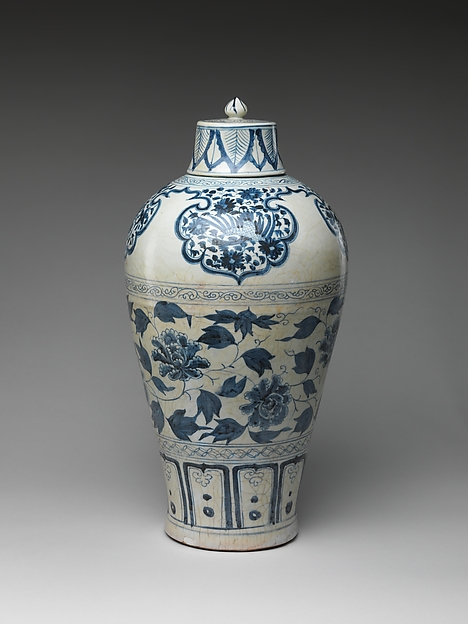 Bottle with Peony Scroll, Porcelain painted with cobalt blue under a transparent glaze (Jingdezhen ware), China
