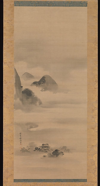 Landscape in Moonlight, Kano Tan'yū (Japanese, 1602–1674), One of a triptych of hanging scrolls; ink on silk, Japan