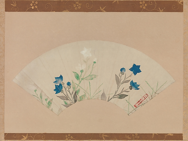 Chinese Bellflowers, Follower of Ogata Kōrin (Japanese, 1658–1716), Folding fan remounted as a hanging scroll; ink and color on paper, Japan