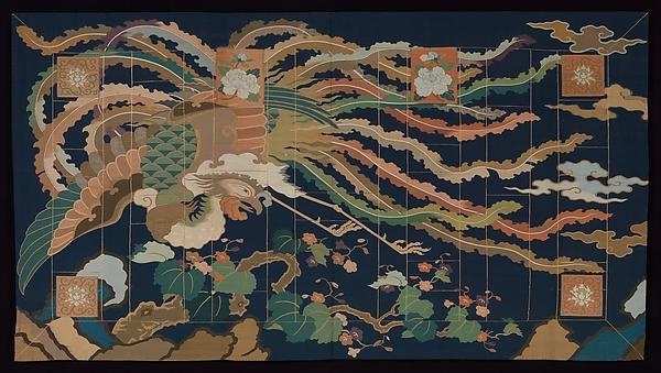 Buddhist Priest's Vestment (Kesa) with Phoenix, Silk and metallic thread tapestry, Japan
