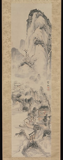 Landscape, Kushiro Unsen (Japanese, 1759–1811), Hanging scroll; ink and color on paper, Japan