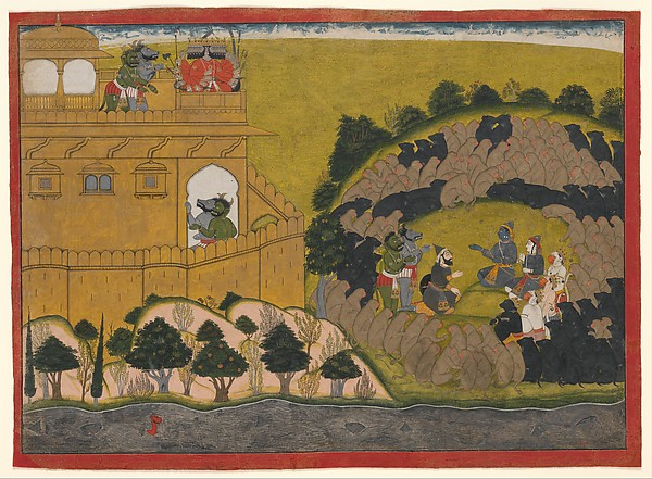Rama Releases the Demon Spies Shuka and Sarana: Folio from a Ramayana 'Siege of Lanka' Series, Attributed to Manaku (active ca. 1725–60), Opaque watercolor, ink and gold on paper, India (Guler, Himachal Pradesh)