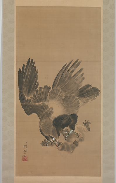 Eagle Attacking a Monkey, Kawanabe Kyōsai (Japanese, 1831–1889), Hanging scroll; ink and color on paper, Japan