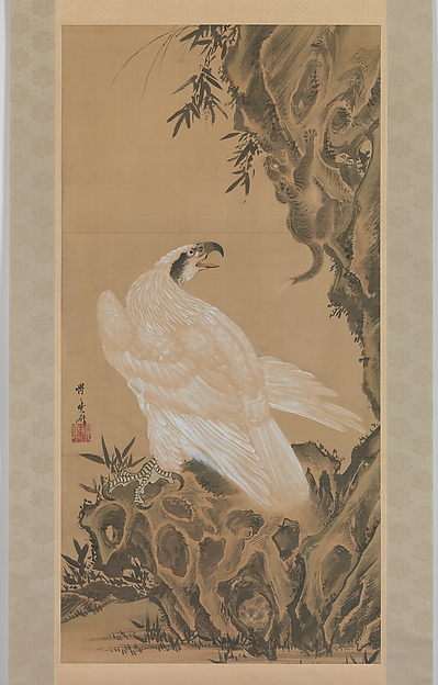 White Eagle Eyeing a Mountain Lion, Kawanabe Kyōsai (Japanese, 1831–1889), Hanging scroll; ink and color on paper, Japan