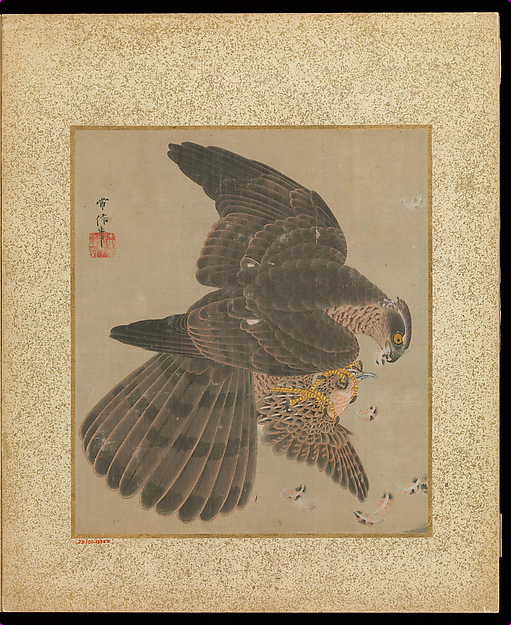Album of Hawks and Calligraphy, Kano Tsunenobu (Japanese, 1636–1713), Album of ten paintings; ink and color on silk, Japan