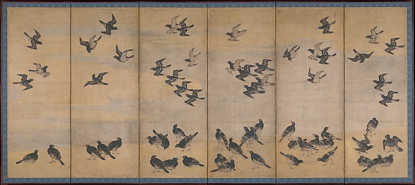 Mynah Birds, Unidentified Artist Japanese, Pair of six-panel folding screens; ink, color, and gold on paper, Japan
