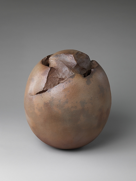 Flower Container, Kaneta Masanao (Japanese, born 1953; active Yamaguchi), Stoneware with brown glaze; Hagi ware, Japan