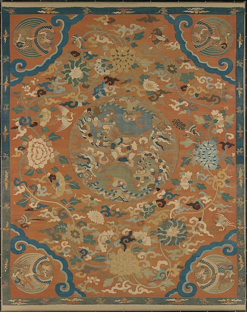 Screen Panel or Kang Cover, Silk and metallic-thread tapestry (kesi), China