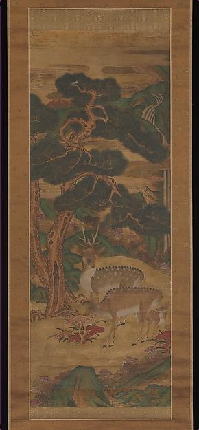 Deer amid pine trees, Unidentified Artist Korean, Two hanging scrolls; ink and color on silk, Korea