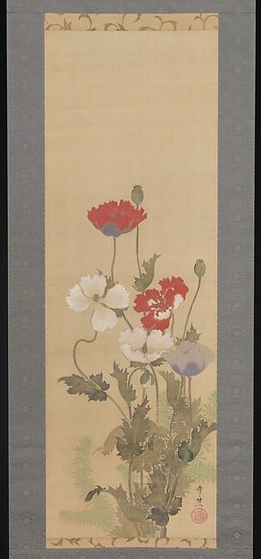 Poppies, Suzuki Kiitsu (Japanese, 1796–1858), Hanging scroll; ink and color on silk, Japan