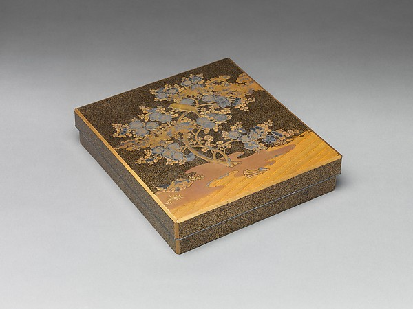 Writing Box with Warbler in Plum Tree, Lacquered wood with gold and silver takamaki-e, hiramaki-e, togidashimaki-e on nashiji ground, Japan