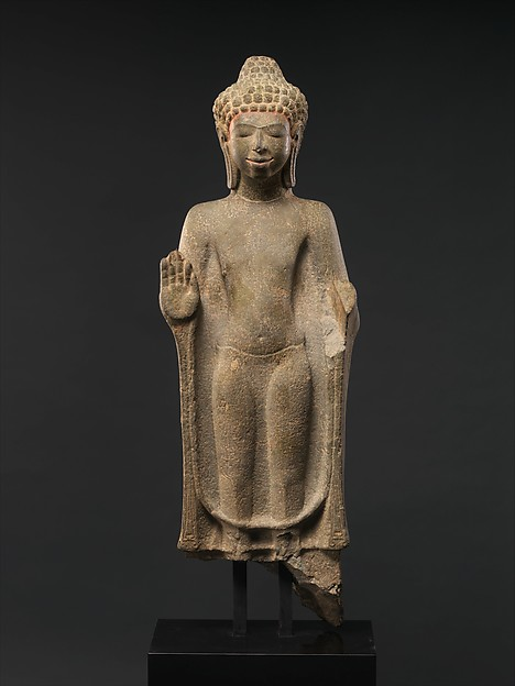 Standing Buddha, Stone with traces of color, Thailand